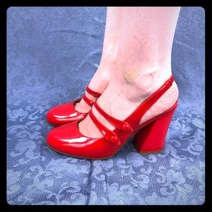 Red Mary Jane style heels from ModCloth size 8